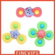 Set 3 con quay đồ chơi thiết kế hình động vật có cốc hút dễ thương dành cho  trẻ em tại Nước ngoài