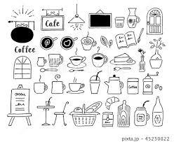 カフェ色々手描きのイラスト素材 45250822 Pixta