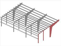 single slope straight column frames lean to