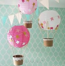 whimsical hot air balloon decoration diy kit hot pink and gold nursery decor travel theme nursery set of 3