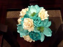 Turquoise And White Wedding Decorations Tealturquoise Magnolias Transformed Into A Fabulous Silk Bridal