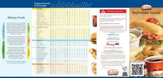 Tim Hortons Nutrition Chart Canada U S Nutrition Guide Tim Hortons