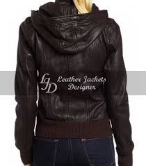Designer Jackets Womens Womens Brown Hooded Bomber Leather Jacket