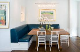 leather breakfast nook furniture. breakfast nook with wooden table and navy leather bench furniture