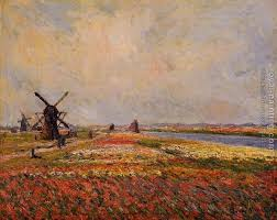 Fields of Flowers and Windmills near Leiden by Claude Oscar Monet | Oil  Painting Reproduction