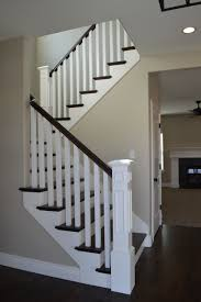 Painted Wood Stairs Open Railing With Hardwood Stairs We Love How The Dark Wood And