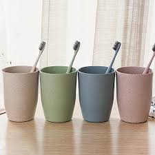 4 colors bathroom wheat straw toothbrush holder cup wash gargle suit bathroom accessories
