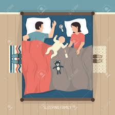double bed top view. Top View Of Young Family Sleeping At Home On Double Bed With Nursing Baby Flat Vector