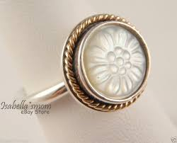 pandora daisy signet 14k silver mother of pearl ring size 50 for