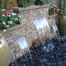 backyard water features | Water Features for the Garden Pondless water  feature with 3 spillways .