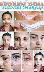 top 13 broken doll tutorial makeup eyebrows dark brown eyeshadow eyelids base color doll eye gigantic