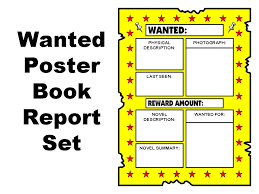 Book Report Poster Template Wanted Poster Book Report Set