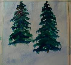 steps for painting a winter pine tree watercolor