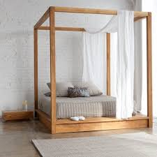 Canopy bed in minimalist style with simple wooden frame, bed frame, wooden  beds,