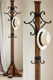 mina coat rack handmade alder wood 4 cast iron hook hat stand hall tree mission arts