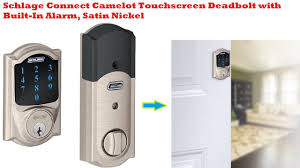 schlage camelot touchscreen deadbolt. Simple Touchscreen Schlage Connect Camelot Touchscreen Deadbolt With Built In Alarm Satin  Nickel And 7
