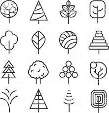 簡単な輪郭線の木ベクトル自然植物と白い背景で隔離の細い線アイコン