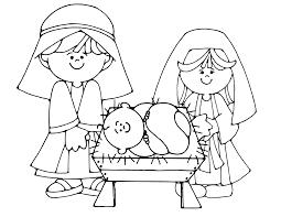 Simple Nativity Scene Colouring Page Kids Crafts Nativity