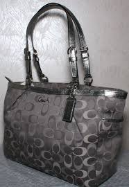 ... Grey Totes APG Coach Gallery 3 color Signature Large Tote Bag  SilverGray F17698 ...