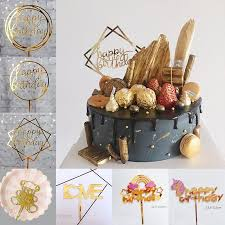 2019 Gold Happy Birthday Cake Decor Toppers Unicorn Cake Top Flag