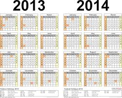 2013-2014 Calendar - free printable two-year Excel calendars
