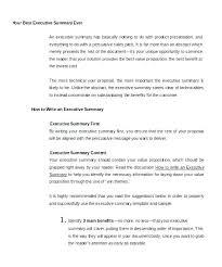 Resume Executive Summaries Executive Summary Example Template Free Executive Summary