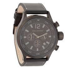 john rocha men s black leather strap chunky chronograph dial watch men s black leather strap chunky chronograph dial watch