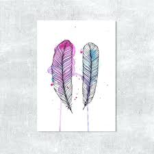 feathers wall decor watercolour print feather wall art pink purple blue wall decor feather illustration watercolour feathers modern print colorful wall art  on gold leaf feather wall art with feathers wall decor watercolour print feather wall art pink purple