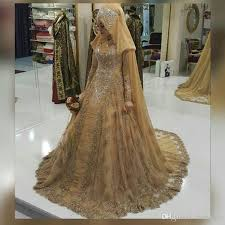 discount vestido de noiva gold lace muslim wedding dresses 2017