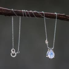 teardrop moonstone pendant necklace in silver bezel and b