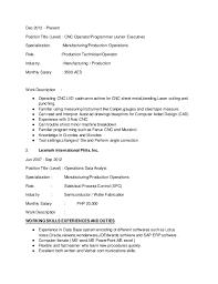 Cnc Operator Resume Pelosleclaire Com