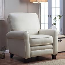 upholstered recliner chair. Exellent Recliner Soft Cream Bonded Leather Upholstered Club Chair Recliner With Espresso Legs With P