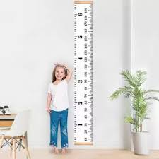 Kids Height Ruler Chart Growth Wooden Children Wall Hanging Personalised Measure Kids Growth Chart Wood Frame Fabric Canvas Height Measurement Ruler