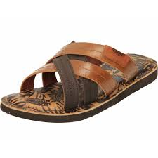 mens leather slip on mules cross strap open toe sandals