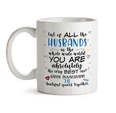 38th wedding anniversary gift mug bb62 happy marriage anniv to the very best ever husband