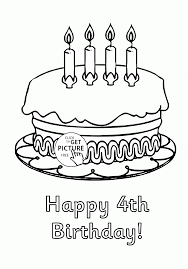 Small Picture Happy 4th Birthday Cake coloring page for kids holiday coloring