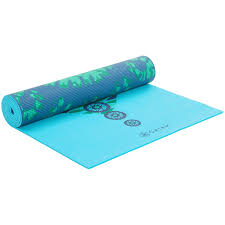 gaiam reversible reflection yoga mat 5mm in teal green