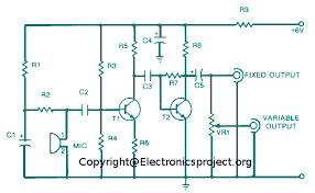 microphone amplifier electronics project circuit diagram microphone amplifier circuit