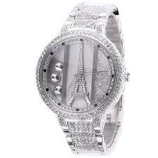Designer Diamond Watches Melissa Womens Luxury Diamond Studded Iron Tower Ladies