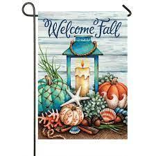 coastal welcome fall flags double
