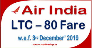 Ltc 80 Air India Fares Applicable From 3rd December 2019
