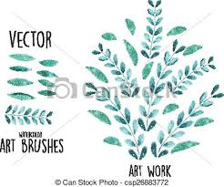 free watercolor brushes illustrator vector watercolor brushes with leaves elements vectors illustration