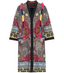 Buy Designer Coat Etro Fringed Tweed Coat Multicoloured Women Top Designer