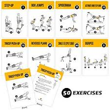 exercise cards bodyweight home gym workout personal trainer fitness program guide tones core ab legs glutes