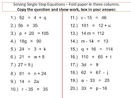 solving single step equations fold paper in three columns