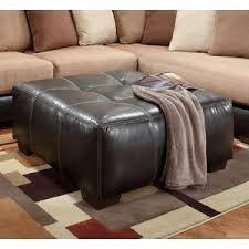faux leather sectional. Searider Espresso Brown Faux Leather Tufted Ottoman Sectional