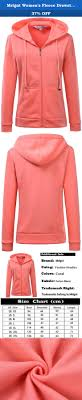 Mrignt Womens Fleece Drawsting Zip Sweatshirt Hoodie Coral