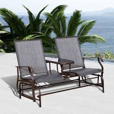 outsunny 2 seater patio glider rocking chair metal swing bench garden two seater rocking chair
