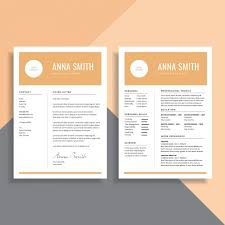 Simple Minimalist 2 Page Resume Cv Template Design Vector