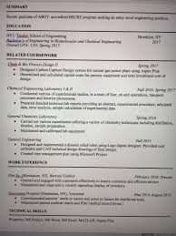 No Experience Chemical Engineering College Graduate Resume